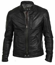 MEN'S BIKER HUNT BLACK REAL LEATHER JACKET