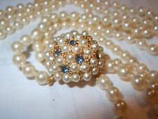 HOBE Vintage 3 Strand Majorca Pearl NECKLACE Beehive Pearl Blue Rhinestone Clasp