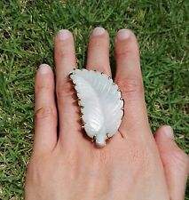 Statement Piece: 24K Gold-Dipped Brass Ring with Large Jade Leaf (Adjustable)