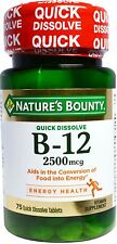 Nature's Bounty Vitamin Quick Dissolve B-12 2500 mcg Tablets, 75 ea