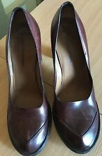 Costume National  Burgundy Distressed Leather Heel Shoes Sz 38.5