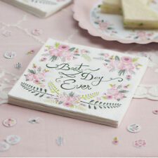 Wedding Paper Napkins BEST DAY EVER Floral Vintage Style x 20 Celebration