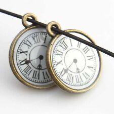 10pcs  Hotsale Enamel Round Clock Shape Alloy Vintage Bronze Charms Pendants J