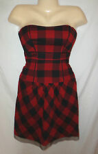 NWT American Eagle Outfitters Strapless Dress Red Black Check Plaid School Girl