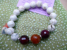 Love Noel Handmade Agate Stone Bracelet Red Elasticated Motif Gift Jewellery