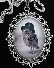 Victorian Owl w/ Top Hat Antique Silver Pendant Necklace Goth*Steampunk*Unusual