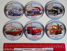 DISNEY-PIXAR-CARS-CHRISTMAS CARD ORNAMENT LOT OF 6-SALLY,RAMONE,MATER,DOC,SHERIF