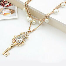 Stylish Gold Plated Pearl Chain Rhinestone Crystal Crown Key Pendant Necklace