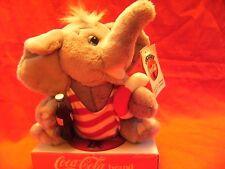 """Rare jouet doux coca cola-éléphant bouteille coke années 90 publicité play by play 7"""""""