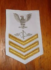 U.S.NAVY, RATE, DRESS WHITE, GOLD/SILVER TINSELL,AVIATION MAINT ADMIN,1CL,E-6