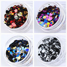 4Boxes Nail Glitter Sequins 3D Nail Art Decoration Ultrathin Round Manicure Tips