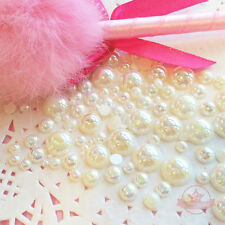 200 pcs 2mm -10mm Cream resin faux round Shiny Pearls Flatback Mix Size Cabochon