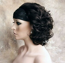 CLASSIC Brown Black 3/4 Fall Hairpiece Short Curly Half Wig Hair Piece #2