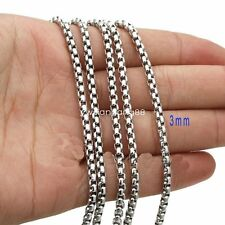 Factory Price 3mm*5m Stainless Steel Silver Rolo Box Chain Bulk Finding Jewelry