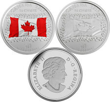 2015 Canada 25 cents X 2 - 50th Anniversary of the Canadian Flag. BOTH VERSIONS!