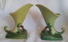 Antique  ROSEVILLE Pottery Cornucopia Vases APPLE BLOSSOM 321-6 Green