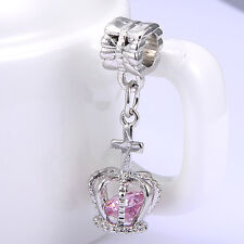 Children Girls Silver Plated Pink Crystal Crown Pendant Gifts Lovely Jewelry