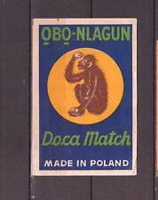 Ancienne étiquette  allumettes Pologne  Obo Nlagun Singe   Dim. 7,5 cm x  5 cm