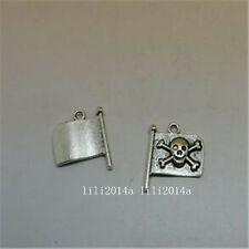 10pc Tibetan Silver pirate flag Charm Beads Pendant accessories Findings  PL677