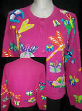 DESIGN PTIONS Womens Cardigan Butterfly Design Sweater Size L Large Dark Pink