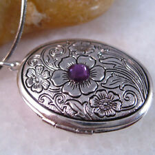 Purple Crystal Flower Oval Silver Picture Locket Charm Pendant Necklace
