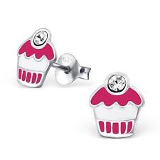 Childrens Girls Sterling Silver Cupcake Stud Earrings - Gift Boxed