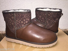 UGG  CLASSIC MINI FLORAL LACE BROWN STOUT LEATHER BOOTS US 8 / EU 39 / UK 6.5
