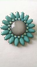 Vintage Turquoise Rhinestone Flower Pin Brooch Unsigned