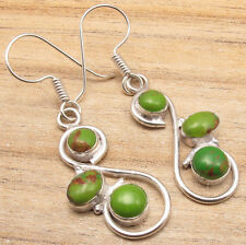 925 Sterling Silver Overlay GREEN COPPER TURQUOISE Art Earrings EBAY GIFT ONLINE