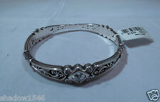NWT Brighton Zoe Silver Plated With Swarovski Crystal Bangle Bracelet J38022