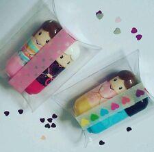 Gift Set 2 x kimono doll lip balm scented fruity gloss lipstick girls beauty kit
