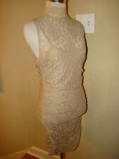 BEIGE NUDE TAN LACE BACKLESS RUCHED VICTORIAN ACCENT WIGGLE DRESS WOMEN SIZE M