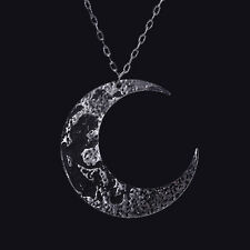 RESTYLE MOON BLACK TEXTURED PENDANT. LARGE CRESCENT. OCCULT JEWELLERY. GOTHIC.