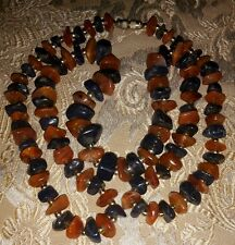 Gorgeous Vintage Natural Carnelian & Agate Chips & Golden Beads Necklace 30.5""
