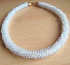 Kumihimo Braiding AB Clear Crystal Magatama Beads Necklace Bridal, Mother's Day