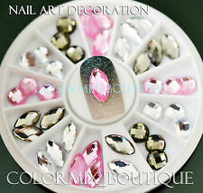 #R42 Nail Art Tips Decoration White Pink Gray Glitter Resin Rhinestones+Wheel