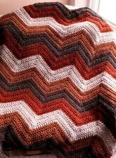 CROCHET handmade baby blanket afghan lap chevron ripple VANNA yarn brown autumn
