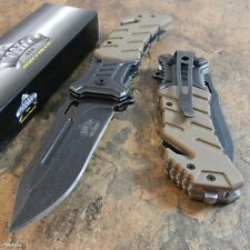 Master Desert Tan Tactical Rescue Stone Wash Blade Spring Assisted Pocket Knife