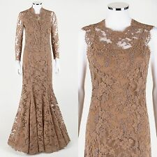 MONIQUE LHULLIER 3-PC NUDE LACE FORMAL MERMAID DRESS GOWN JACKET SLIP SET SZ S