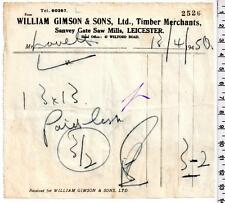 1950 - Leicester - William Gimson & Sons Ltd - Timber Merchants - Billhead