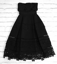 DARK ROMANCE: Self Portrait Black Embroidered Lace Strapless Prom Dress US6/UK10