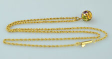 "14K YELLOW GOLD AMETHYST GARNET PERIDOT CITRINE MULTI BALL ON 18"" ROPE NECKLACE"