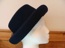VINTAGE MICHAEL HOWARD MISS BIERNER NAVY BLUE BOWLER HAT - LG. - MADE IN U.S.A.