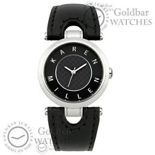 Karen Millen Ladies Black Leather Strap Analogue Watch KM110B RRP £85