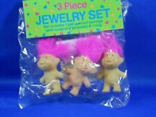 Vintage Pink Hair Good Luck Troll Earrings and Ring 3pc set