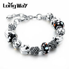 Silver Plated Black Murano Anchor Heart Beads Charm European Bracelet for Women