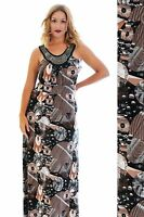 New Womens Maxi Ladies Plus Size Abstract Circle Print Beaded Neck Long Nouvelle