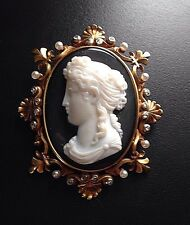 X-Fine French Antique Hardstone Agate Cameo Brooch Pendant 14k Diamonds Pearls
