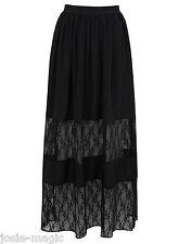 Miss Selfridge Black Floral Lace Insert Maxi Skirt 8 36 Chiffon New BNWT