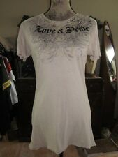 Women's Affliction  Sinful Love & Pride Tan T Shirt Top Size Large